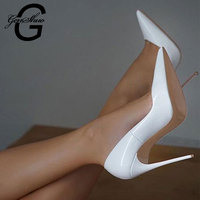 GENSHUO Boutique Lady White Heels Pumps Sexy Stiletto Heels 10CM High Shoes For Women Pointed Toe Shallow Wedding Shoes Prom