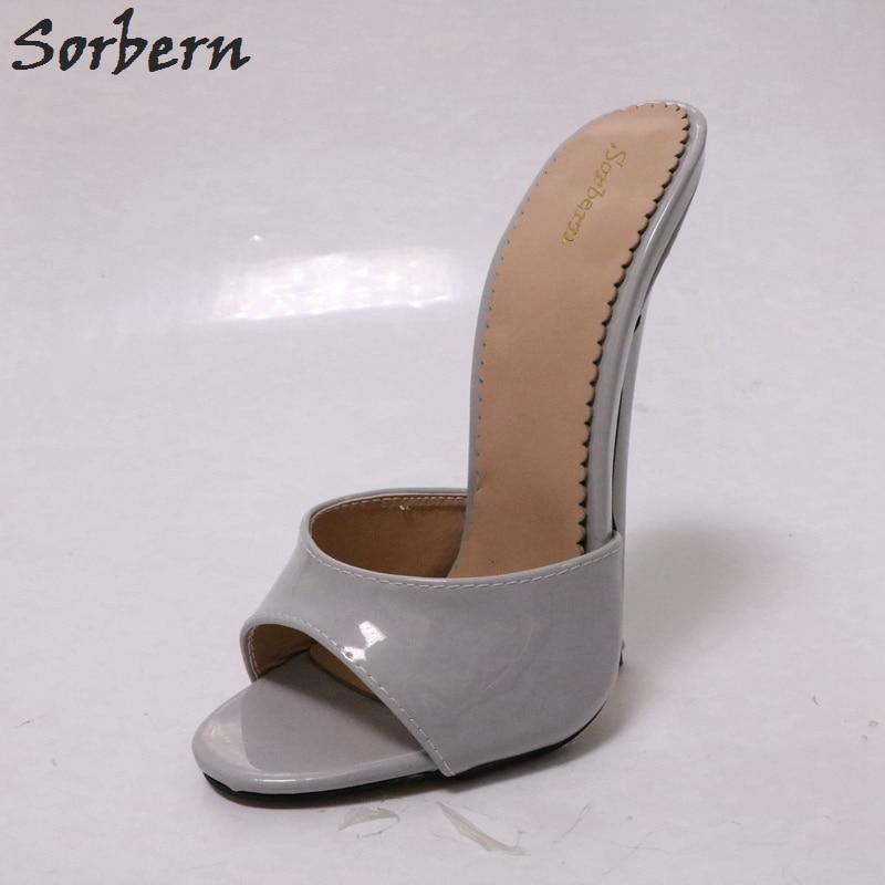 Sorbern Grey Slippers Women Open Toes 18Cm Sexy Spike High Heels Cross Dressing Summer Shoes Ladies Women Breathable Slides