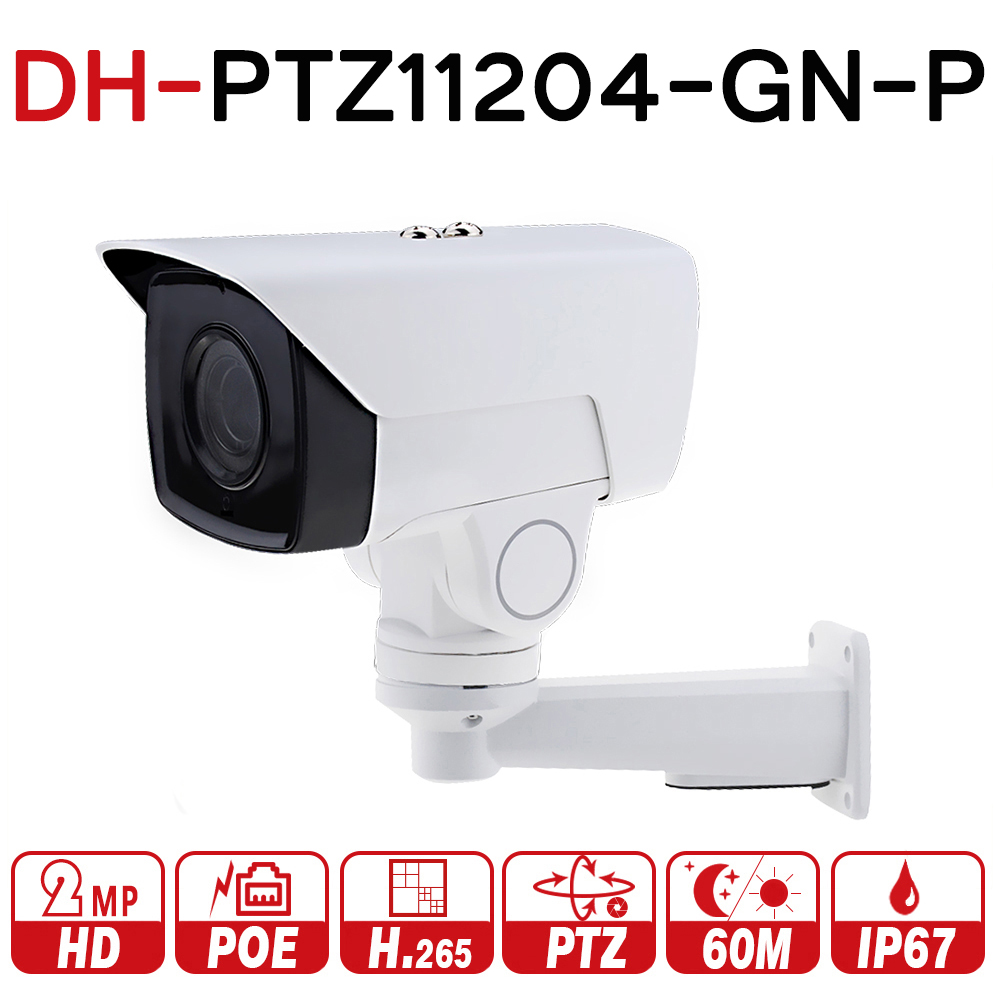 DH PTZ11204-GN-P 4X PTZ IP Камера 2MP POE пуля моторизованный 2,8-11,2 мм H.265 ИК 60 м IP67 кронштейн видеонаблюдения с dahua логотип