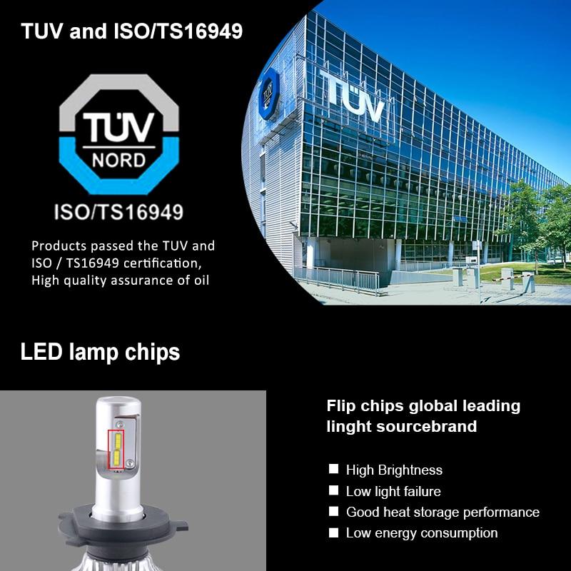 """""""AcooSun H4 H7 LED"""" automobilių priekiniai žibintai 12V H1 - Automobilių žibintai - Nuotrauka 2"""