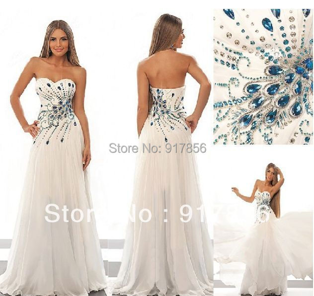 2013 new white ivory blue diamonds ball gown