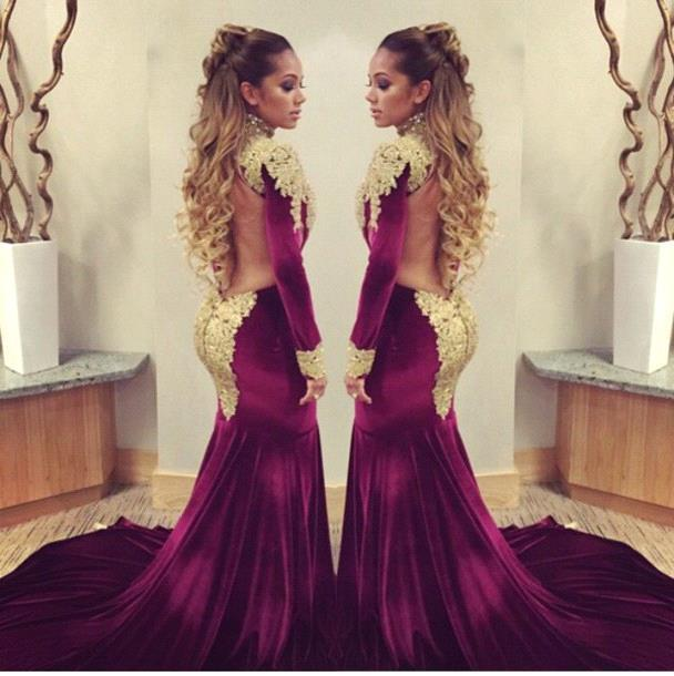 bc5b9ac86cd 2015 Burgundy Velvet with Gold Appliques Backless Mermaid Plus Size Long  Sleeve Prom Dresses Fast Shipping vestido de festa