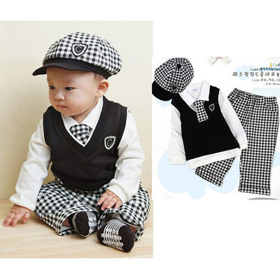 5pcs Baby Boys Gentleman Set!!Baby Boys Black Vest+Tie+Long Plaid Pants+Long Sleeve White Shirt=Plaid Hat For Age 0-2Y