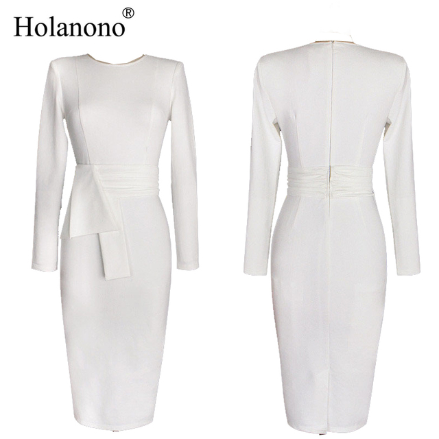 e0d2adc76bd2 Holanono Spring Autumn Dress Women 2018 New Ultra Beauty Kim Kardashian White  Bodycon Dress Long Sleeve O-Neck Dress Party Wear