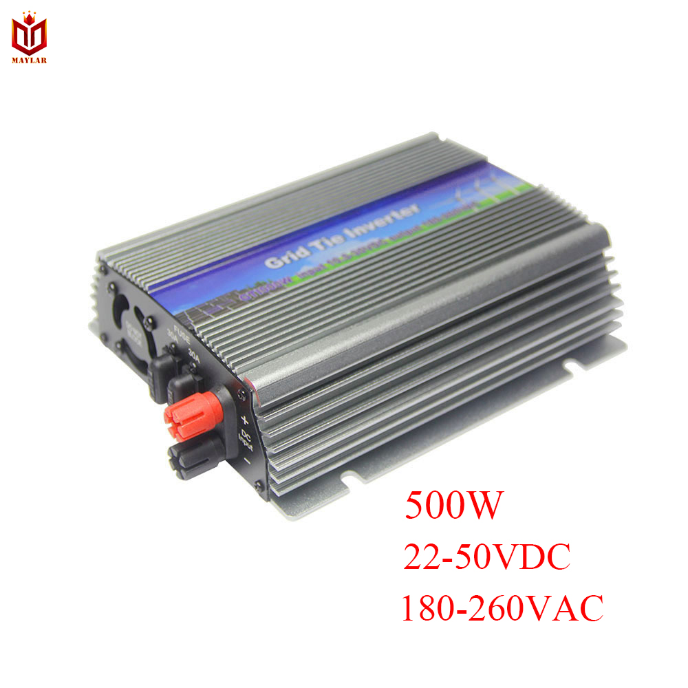 MAYLAR@ 500W Solar Grid Tie Pure Sine Wave Inverter Power Supply,22-50VDC,180-260VAC,50Hz/60Hz For 60cell and 70cell Panels free shipping 600w wind grid tie inverter with lcd data for 12v 24v ac wind turbine 90 260vac no need controller and battery