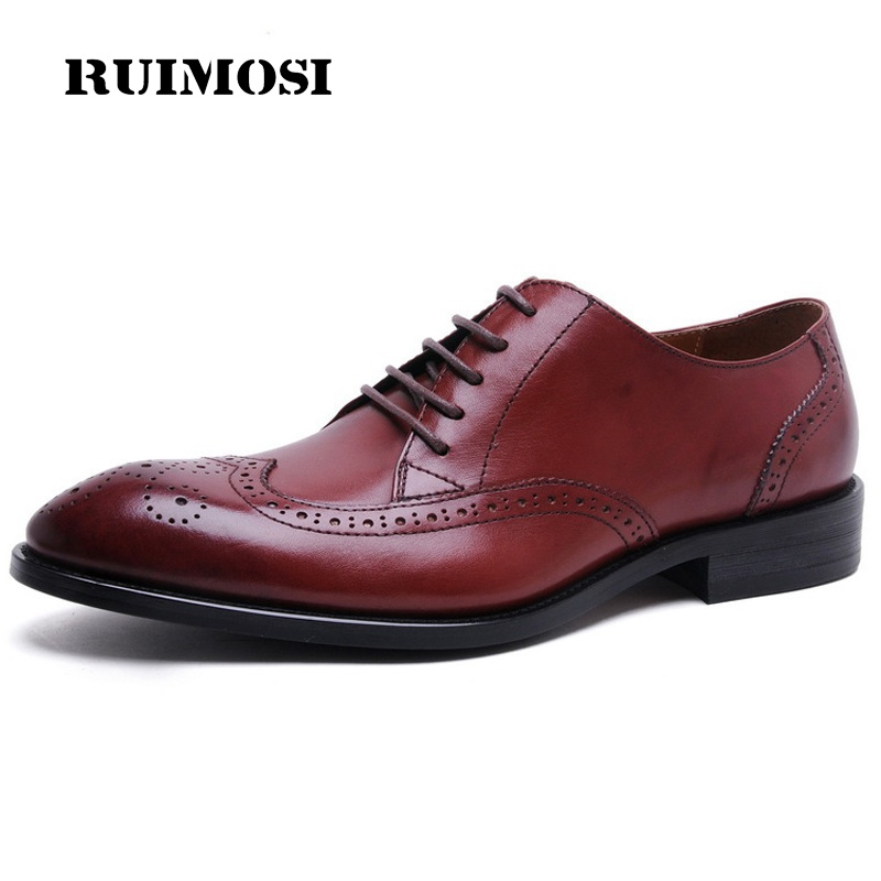 RUIMOSI British Style Wing Tip Man Formal Dress Shoes Vintage Genuine Leather Oxfords Round Toe Derby Men's Brogue Flats TH73