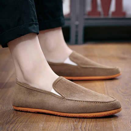 男性の通気性の靴歳キャンバス男性フラット薄く切り取るに足駆動の靴は怠惰なウォーキングシューズスポーツスニーカー低tm0032