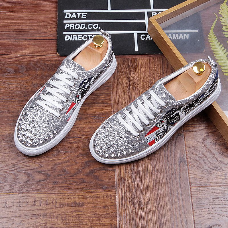 Fashion Men's Sneakers Studded Rivets Casual Black Round Toe Shoes Man Heavy Bottom Lace Up Male Flats Zapatos Hombre-in Men's Casual Shoes from Shoes on Aliexpress.com | Alibaba Group 37