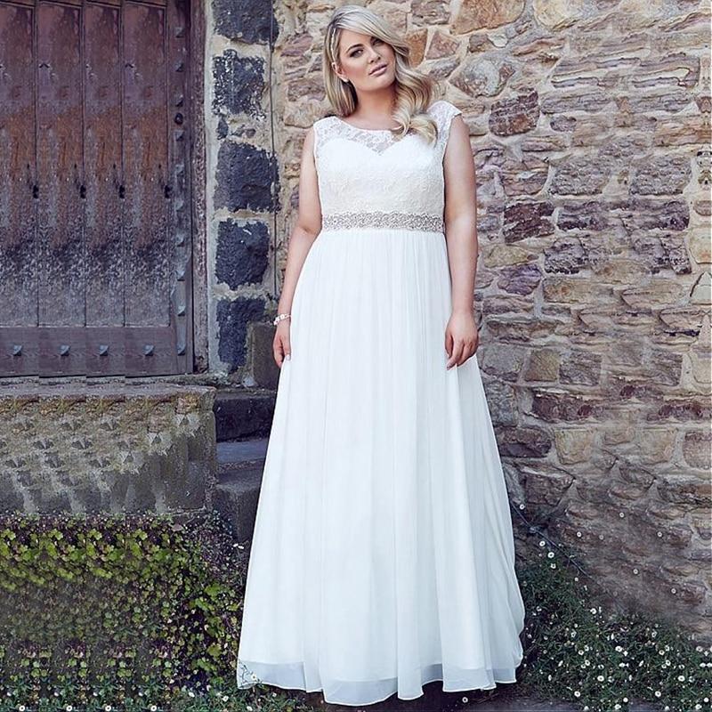 Classic Scoop Chiffon Beach Wedding Dresses with Belt Vestido de Novia 2020 Plus Size Bridal Gown Customized Robe de Mariage