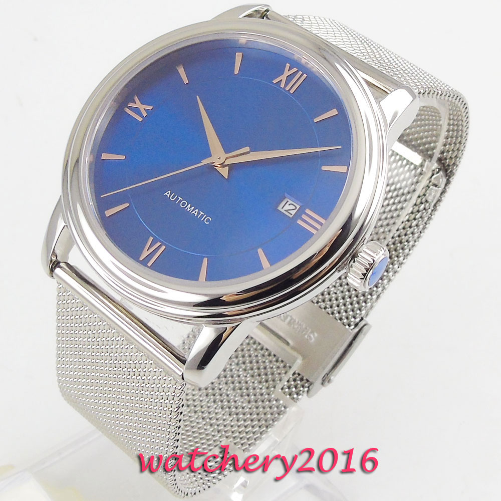 NEW 40mm Coutent Blue Sterile Dial Sapphire Glass Date Stainless steel Miyota Automatic movement Mens Mechanical WristwatchesNEW 40mm Coutent Blue Sterile Dial Sapphire Glass Date Stainless steel Miyota Automatic movement Mens Mechanical Wristwatches