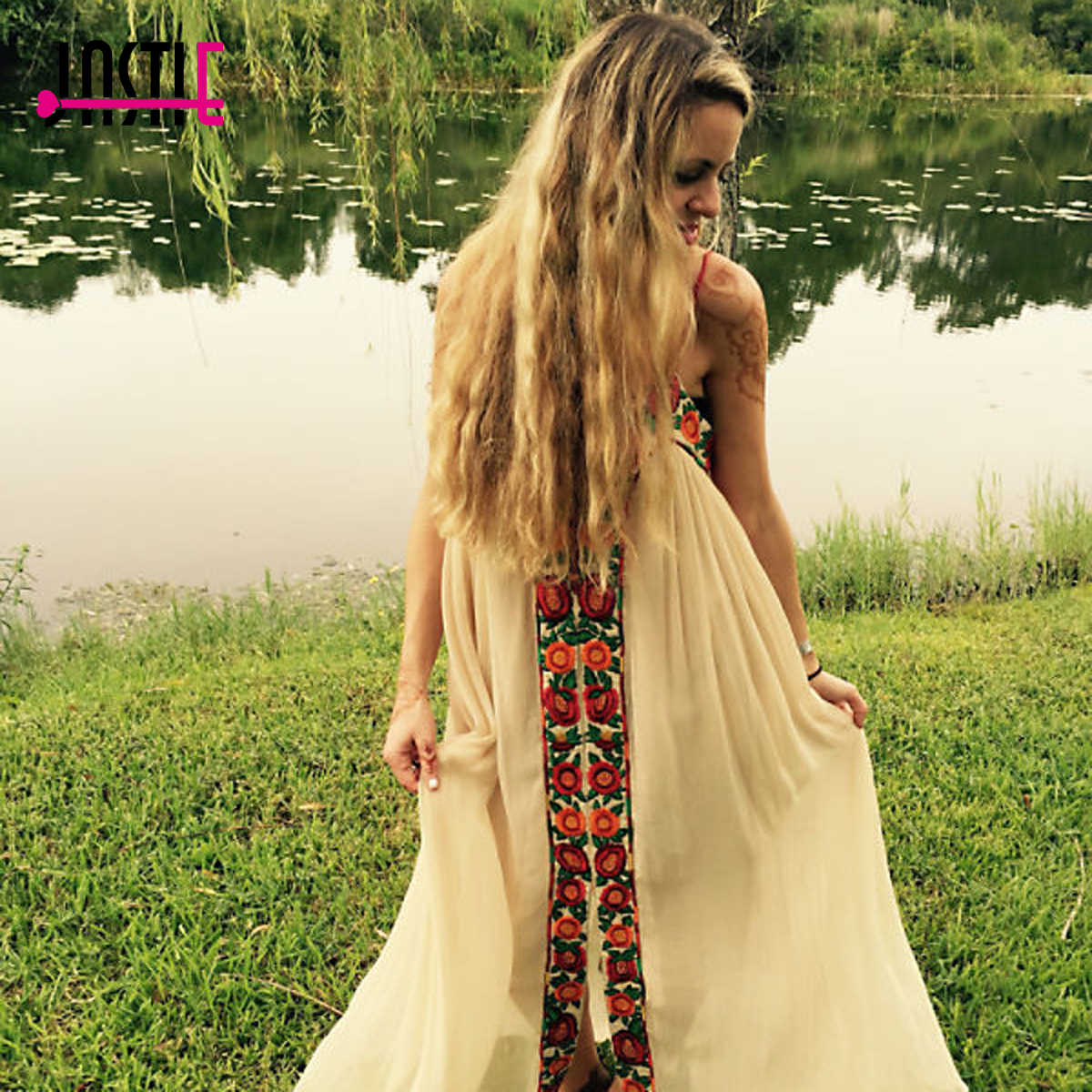 75be1bbb127 ... Jastie Free-Flowing Maxi Dress Floral Embroidery Boho Dress V-Neck  Lace-Up