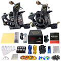 Solong Tattoo Pro Tattoo Kit 2 Rorary Tattoo Machine Gun Power Supply 1 Practice Skin Dual-sided Re-usable One Set TK202-24