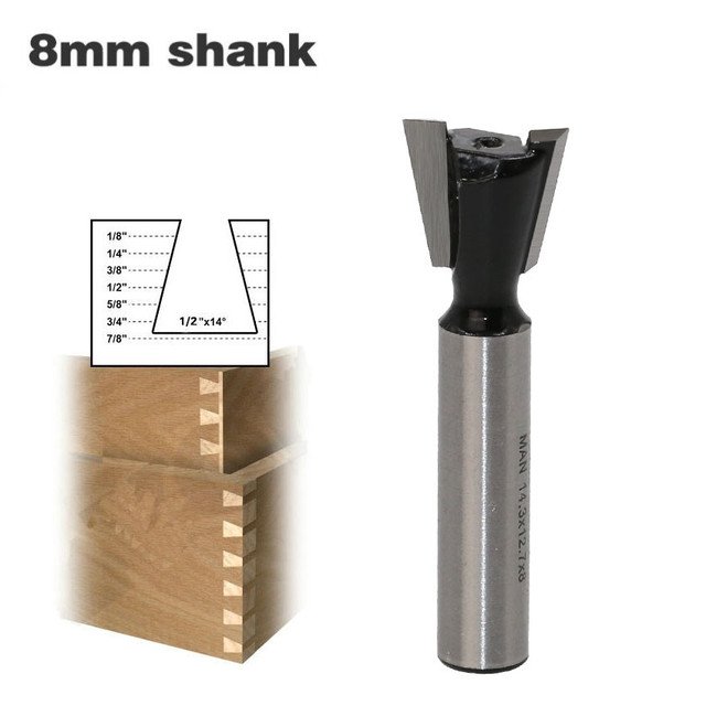 1Pc 8mm Shank Dovetail Milling Cutters Industrial Grade Tungsten Router Bits For Wood Carving Woodworking Tools