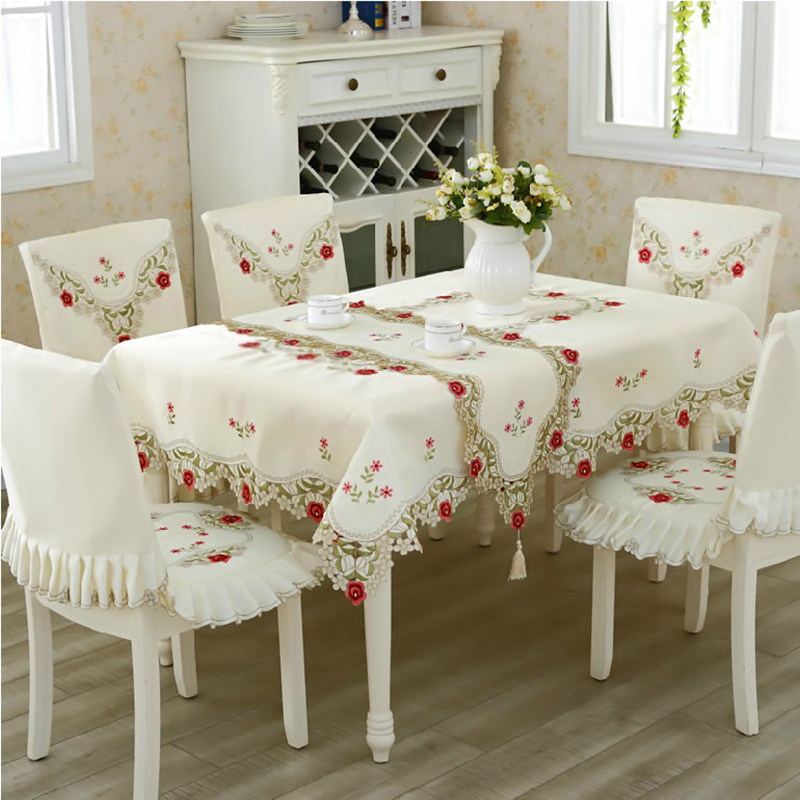 Dining Room Table Cover Pads: 140x220cm Chinese Embroidery Hotel Dining Table Cloth