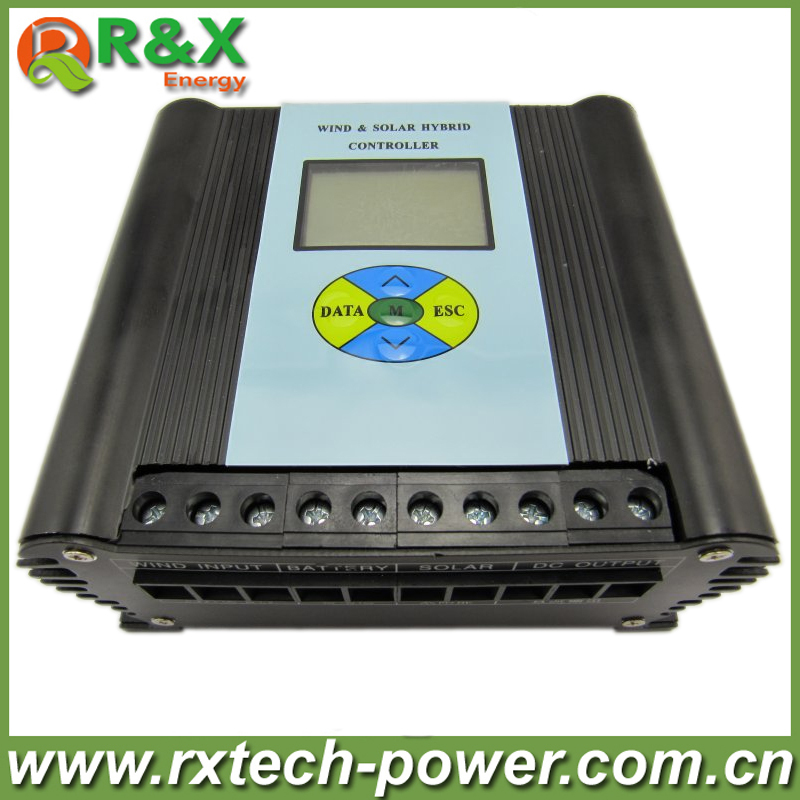 Wind and solar hybrid controller 600w with LCD display, charge controller for 600w wind turbine and 300w solar panel, 12V /24V 600w wind solar hybrid controller 400w wind turbine 200w solar panel charge controller 12v 24v auto with big lcd display