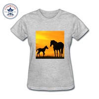 2017 Hot High Quality Cotton Horse With Sunset Funny T Shirt Women