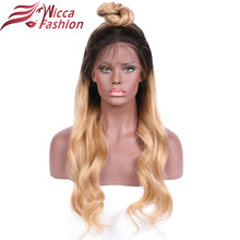 Wicca mote Body Wave Ombre 27 Farge Front blonder parykk Remy Hair Brazilian Human Hair Parykker Med Baby Hair