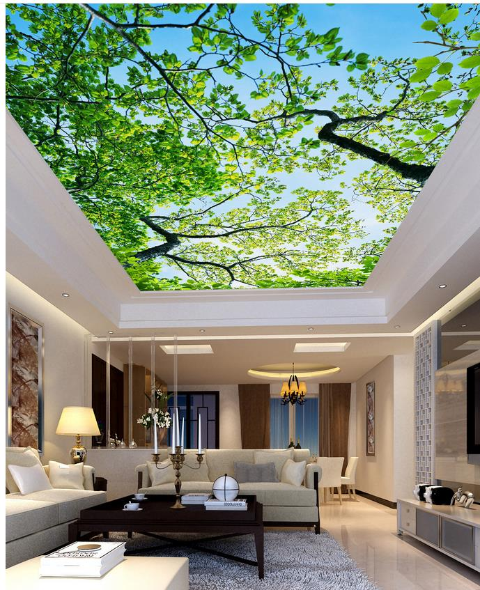 Blue Sky Tree Ceiling 3d wallpaper modern for living room murals Home Decoration Non woven wallpaperBlue Sky Tree Ceiling 3d wallpaper modern for living room murals Home Decoration Non woven wallpaper