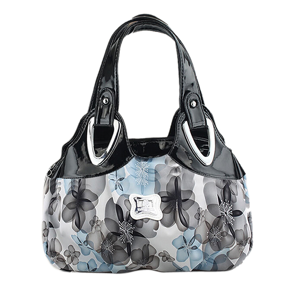 FGGS-Fashion Handbag Women PU Leather Bag Tote Bag Printing Handbags Satchel -Dream Safflower + White Handstrap