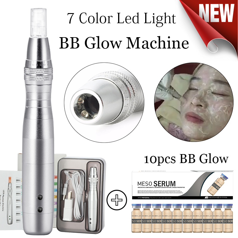 7 Color Led Light BB Cream Machine Microneedle Pen For Stayve White Brightening Foundation BB Cream Glow Scar Removal Skin Care