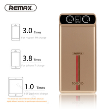 Remax 10000mAh metal shell Power bank with led display Dual USB Charger Powerbank For iPhone 5 5s 6 7 samsung External Battery