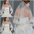 Lace Appliques Edge One Layer Wedding Veils Short For Bridal Acessorios Para Noivas