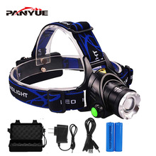PANYUE Headlamps 1000LM Led Headlamp Zoomable Headlight Head Torch Flashlight lamp by 18650 battery for Fishing Hunting