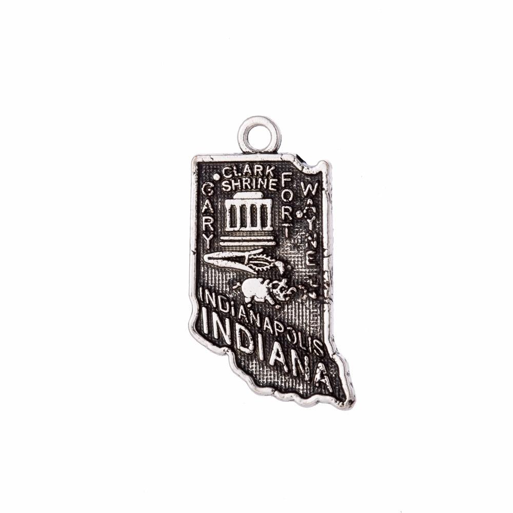 my shape 60Pcs Indiana State Map Charm Pendant Personalized Gift Jewelry Making 14*24mm Pendant
