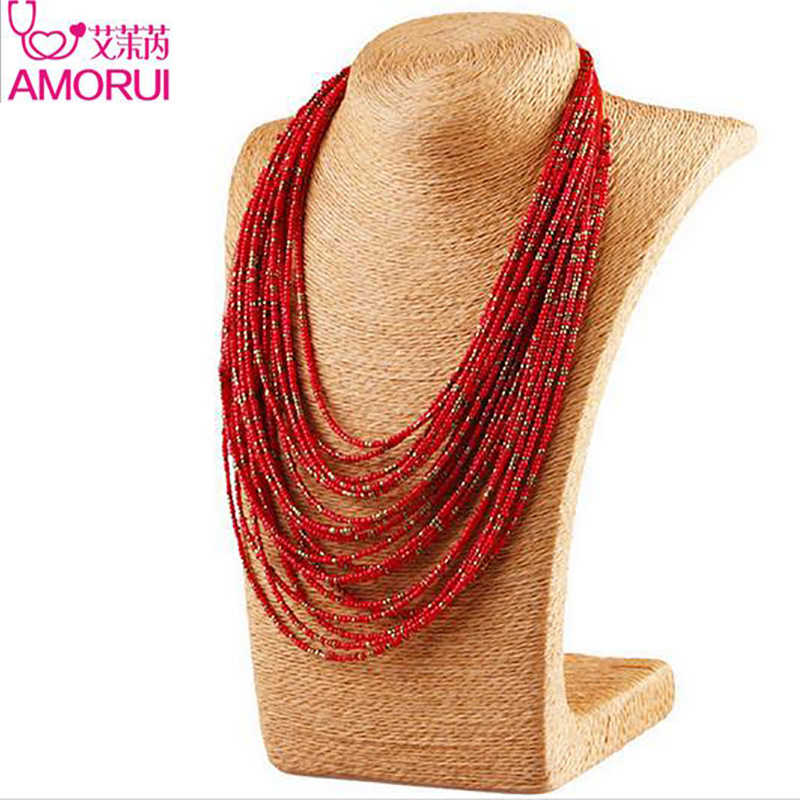 Popular Bohemian Bead Long Chain Necklace Multiple Layers Strand beaded necklaces for women Collier Femme Statement Jewelry