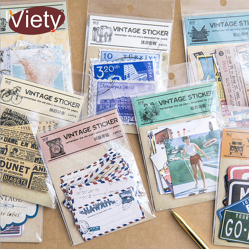 1 Bag Vintage Magazine Map Newspaper Stamps Paper Sticker Package DIY Diary Decoration Sticker Planner Album Scrapbooking Kawaii