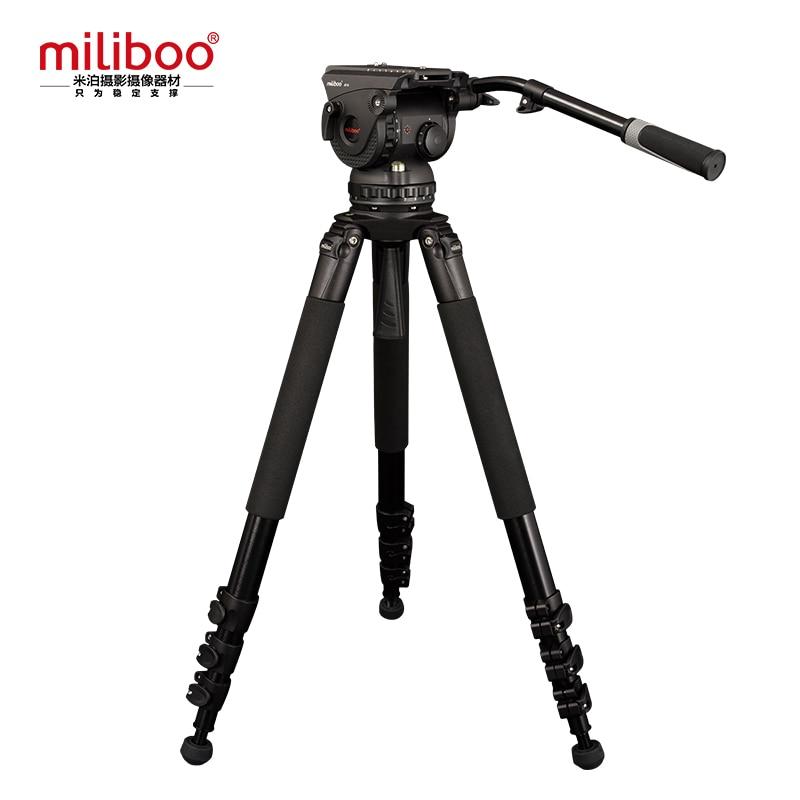 Miliboo Professionnel Film de Diffusion Trépied M18L 4 Section avec Fluid Head Charge 18 kg Max Hauteur 207.4 cm/81
