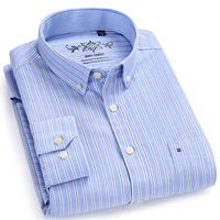 Plus Size Men S Long Sleeve Contrast Striped Oxford Dress Shirt With Left Chest Pocket Male