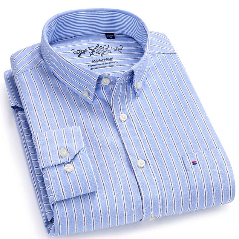 Kemeja kotak-kotak lengan panjang / bergaris-garis Oxford Dress - Pakaian Pria - Foto 2