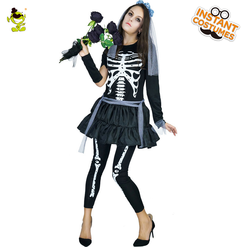 Women Black Skeleton Costumes Adult Masquerade Party Dead Skullman Cosplay Fancy Outfits Halloween Cold Skeleton Goddess Dress