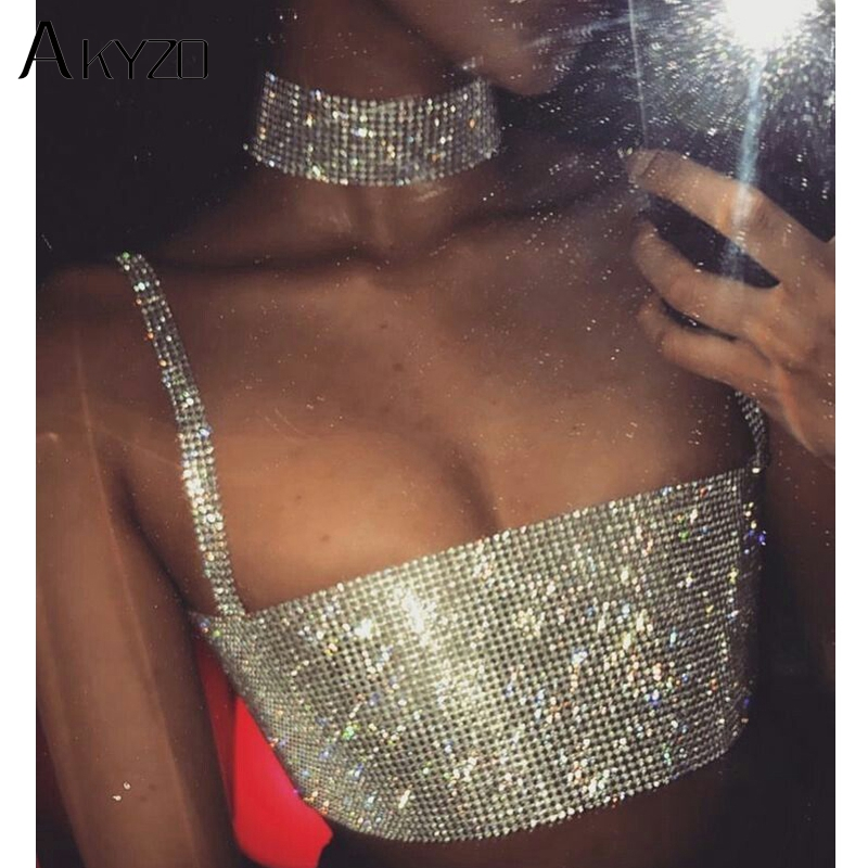 AKYZO Fashion Rhinestone Metal Chain   Tank     Tops   Women Luxury Design Party Cropped Summer Bling Off Shoulder Nightclub Camis
