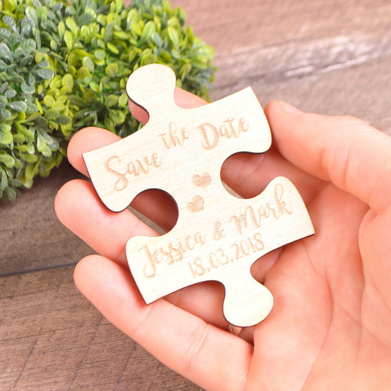 US $18 23 10% OFF|personalize jigsaw puzzles Wooden invites save the date  Wedding invitations Magnets birthday party favors company gifts -in Party