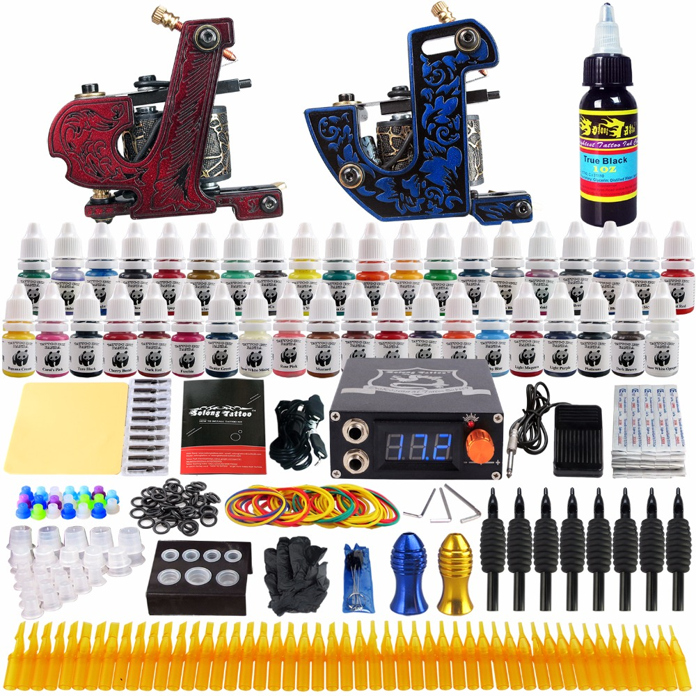 Solong Tattoo complete professional 2 tattoo Machine Guns set Tattoo Kit 40 Inks Power Supply Needle Grips power supply TKB11 europe god of darkness robert recommend gp self lock grips gp3 professional tattoo artist grip