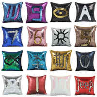 Двусторонняя Подушка с блестками, наволочка с блестками для русалки, Волшебная расцветка, домашний декор, диванные подушки, крышка 40х40см