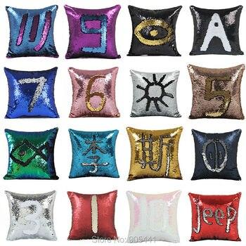 Двусторонняя Подушка с пайетками, чехол для подушки с пайетками русалки, магический цвет, меняющий домашний декор, диванные подушки, Наволо...