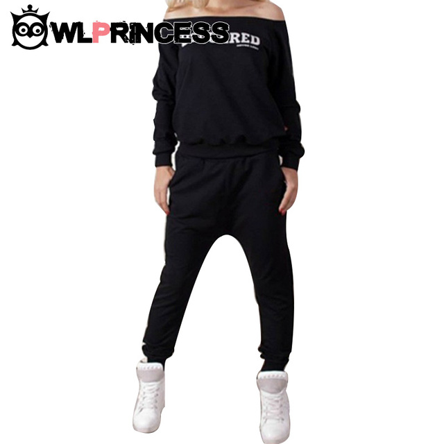 65ba636984e9 Sexy COLLAR Women s Sports Suit Solid Letter Running Sets Autumn Winter  Tracksuits Long-sleeve Costumes Mujer Sportswear