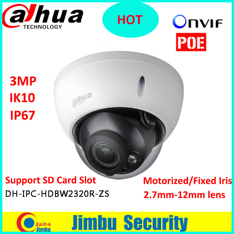 Dahua 3MP POE Dome camera IPC-HDBW2320R-ZS Motorized lens2.7-12mm IP67 IR with Micro SD card slot Supports 128GB