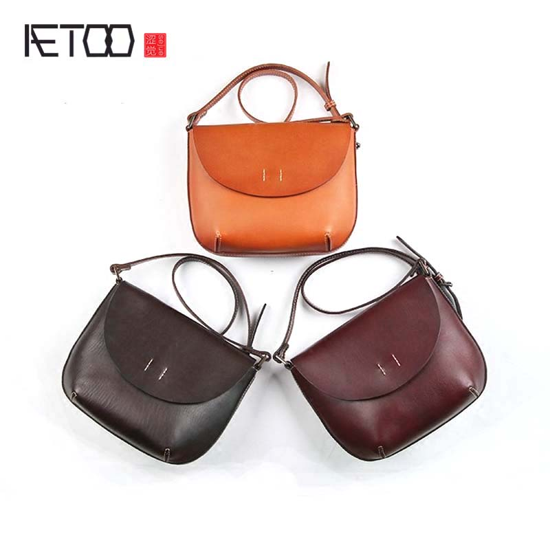 AETOO Handmade leather handbags first layer cowhide art retro bag 2017 new wild mini saddle Messenger bag aetoo spring and summer new leather handmade handmade first layer of planted tanned leather retro bag backpack bag