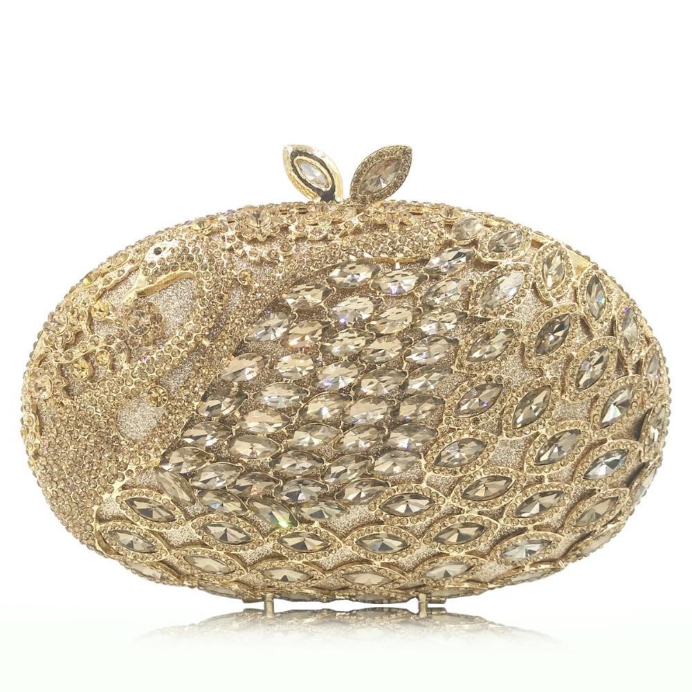 Main Dames Soirée Marque Strass Xiyuan Sacs Pour La White Embrayages Cristal Paon gold pink red À Sac 2018 Femmes Dîner De Mode Luxe colorful Partie Gold IHCCwOq