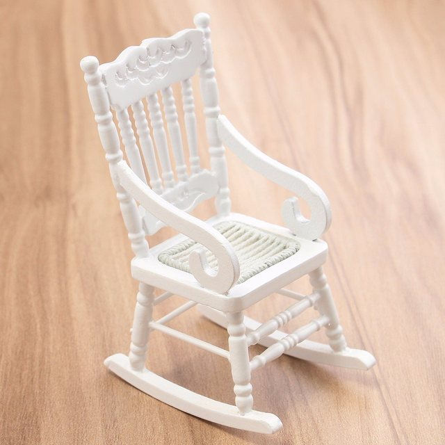 New 1 12 Dollhouse Miniature Furniture White Wooden Rocking Chair Hemp Rope Seat For Dolls