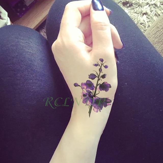 Impermeable Tatuaje Temporal Pegatinas Rosa Lavanda Falsa Tatuaje