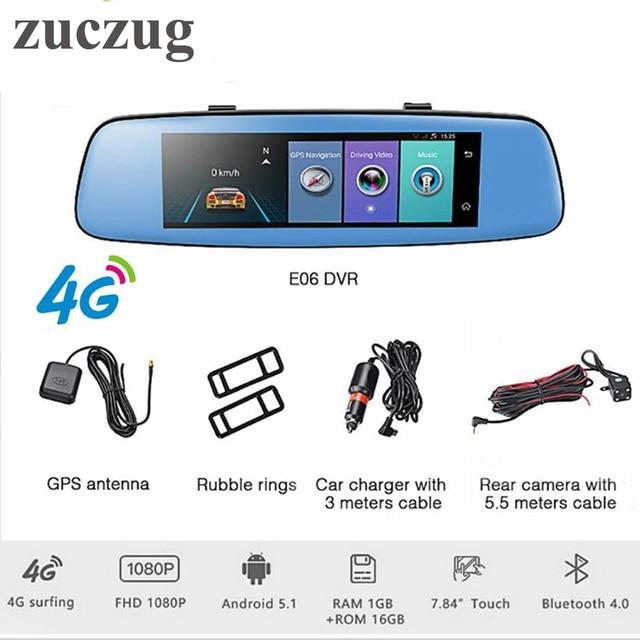 ZUCZUG 8 inch 4G Touch IPS Car DVR Camera Android Mirror GPS Bluetooth WIFI ADAS Dual Lens FHD 1080p Video Recorder Dash Cam
