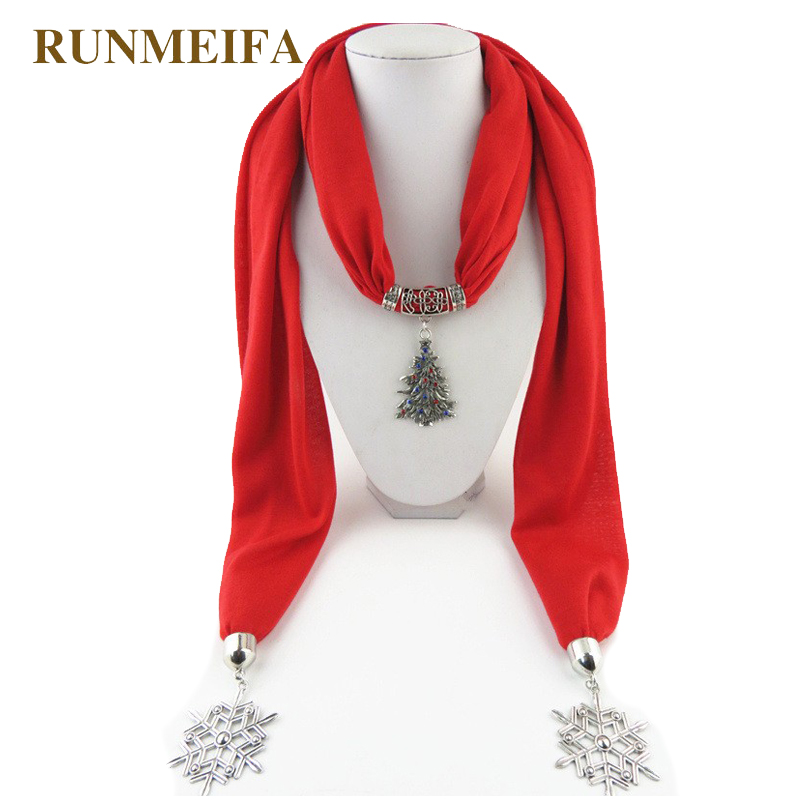 [RUNMEIFA] New Style Red Autumn Winter Women/Lady's Jewelry Pendant   Scarf   Christmas Tree Necklace   Scarves     Wraps   Shawl Retro