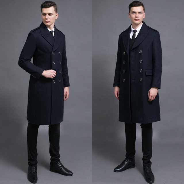 Long black wool coat male 2016 spring and autumn fashion turn-down collar plus size mens wool coats man overcoats free shipping
