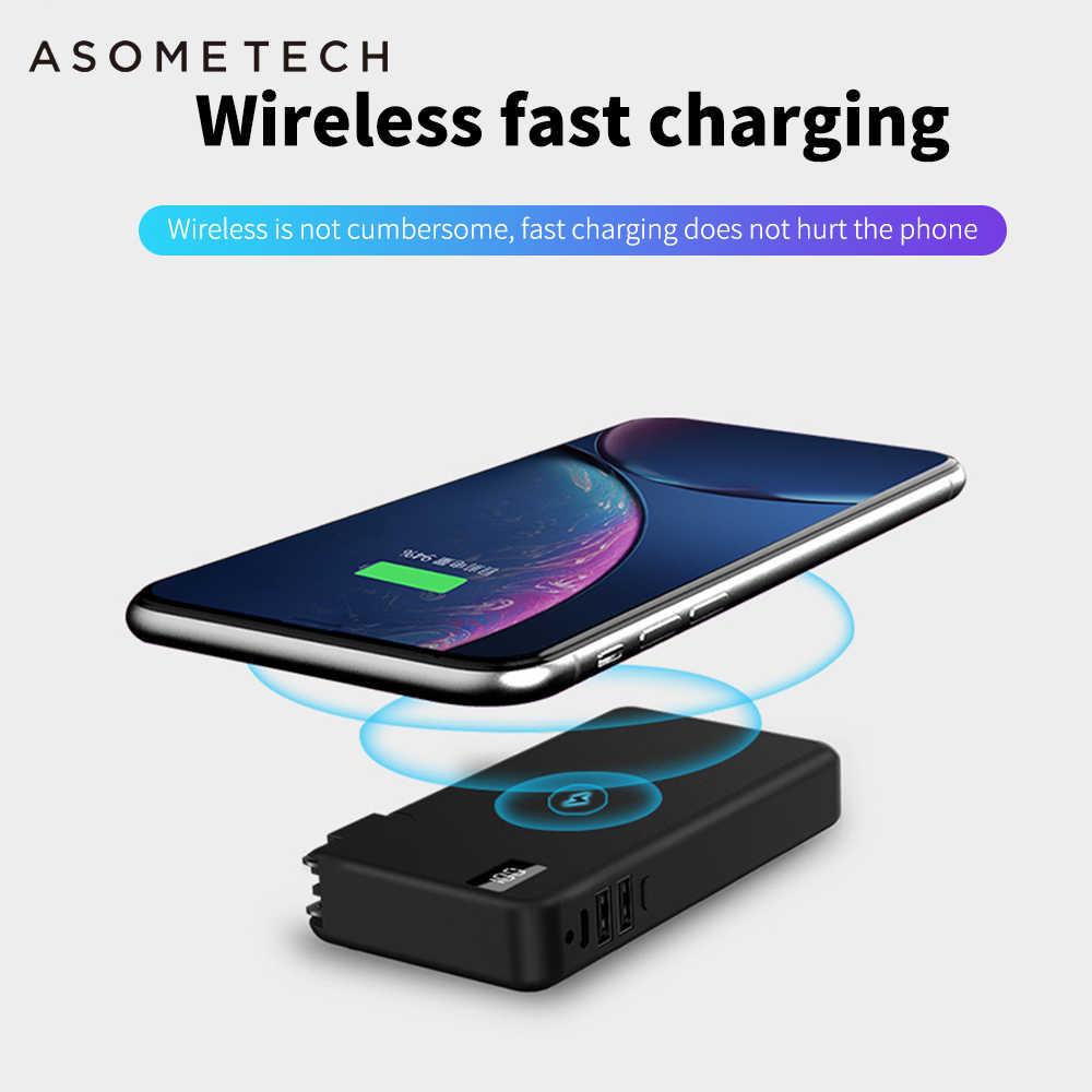 QC3.0 PD سريع تهمة اللاسلكية شاحن الطاقة البنك ل فون سامسونج هواوي 10000mAh تجدد Powerbank المزدوجة USB 3 في 1 18650 حالة البطارية