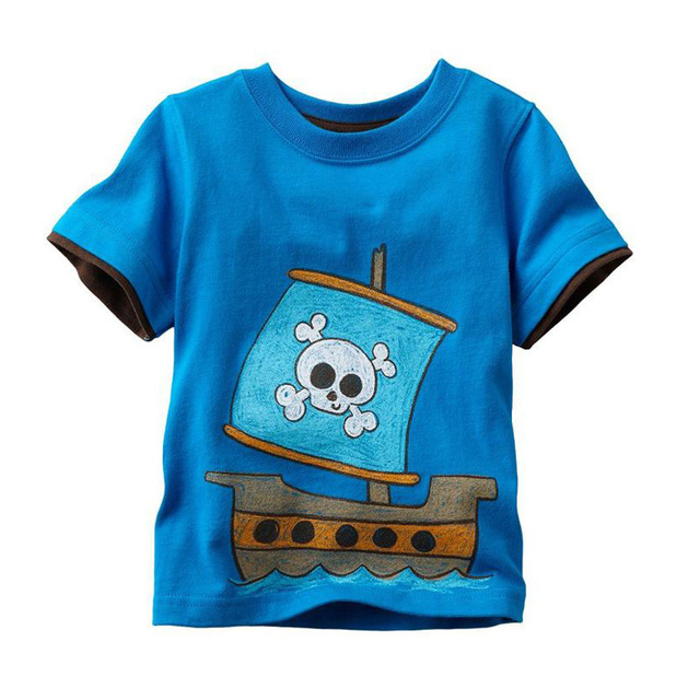 da4d98611 2017 New Casual Boys T-shirts Cartoon Pirate Print T shirt For boys  Children Short